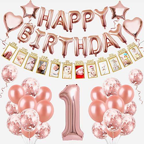 1 Compleanno Decorazioni Bambina Palloncini Compleanno 1 Anno Decorazioni Palloncini Bimba Ragazza, Foil Palloncini Numeri 1, con Baby Foto Banner di 1-12 Mesi, Happy Birthday Palloncini Oro Rosa