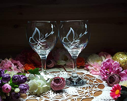 Bicchieri da vino a forma di farfalla, regalo per gli amanti delle farfalle, calici da vino personalizzati, decorazione per matrimoni