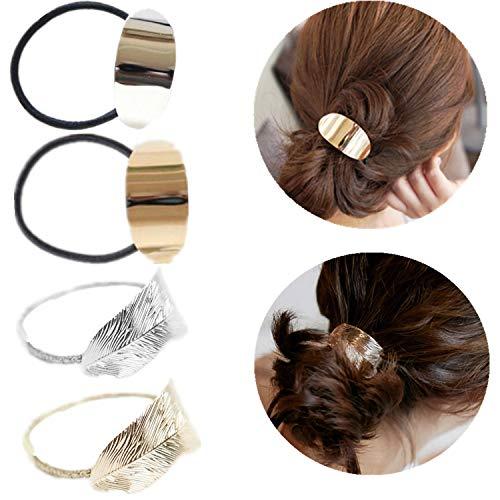 PPX 4 Stücke Pferdeschwanz Halter für Frauen Mädchen, Leaf Armband Seil Metall Elastische Haarsträhnen Wickelseil Damenkopf Accessoires Geschenk