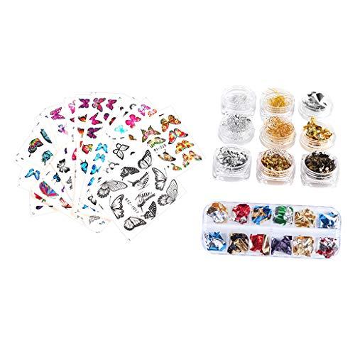 B Baosity Nail Paillettes Sparkle 3D Butterfly Stickers Manicure Nails Art Supplies