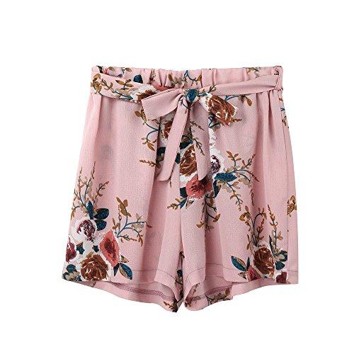 Bekleidung AMUSTER Damen Sommer Strand Shorts Hosen Frauen Drucken Hotpants mit Gürtel Loose Fit Blumen Shorts Kurze Hosen Damenhosen Shorts für Frauen Mädchen (S, Rosa)