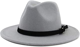 Lisianthus Men & Women Vintage Wide Brim Fedora Hat with Belt Buckle