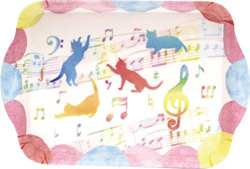 ジャストウィロー ミニトレー 猫と音符 8870002 ミックス 14×21cm