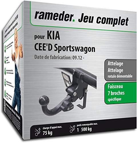 Rameder Pack, attelage rotule démontable + Faisceau 7 Broches Compatible avec KIA CEE'D Sportswagon (151386-10750-1-FR)