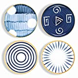 Sophie & Panda Porcelain Dish Set of 4 - Creative Abstract Shape Art Design Dinner Plates - Dish Set of 4 Japanese Style Plates - 10 Inches