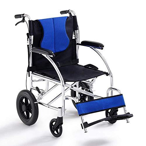 SED Hilfstrolley Rollstühle Für Ältere Menschen Manueller Rollstuhl Rollstuhl Nicht Aufblasbarer Leichtrollstuhl Für Ältere Menschen Und Kinder Gehhilfe Gebrauchswagen,Blau