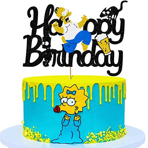 Glorymoment Homer Cake Topper Birthday, Glitter Happy Birthday Cake Topper for Simpsons Theme Party Decorations Children Men Birthday Party Decor Supplies (6.7 '' x 4.8'')