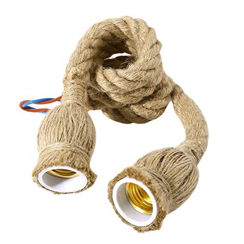 IBISHITAOXUNBAIHUOD Techo cuerda colgante de época la cabeza de doble lámpara de luz decoración del hogar cuerda del cáñamo