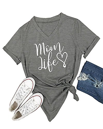 Ofenbuy Womens T Shirts V Neck Short Sleeve Graphic Tee Mom Life Shirt Casual Summer Tops,X-Large,Grey