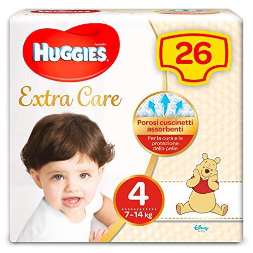 Huggies Pañales extra care, talla 4 (7-14 kg), 1 paquete de 26 unidades