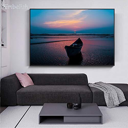 KWzEQ Leinwanddrucke Boot auf dem Strand Wandkunst Bild Wohnkultur für Wohnzimmer Poster50x75cmRahmenlose Malerei