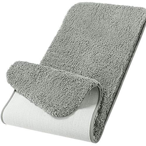 Lifewit Bathroom Rug Bath Mat Plush Microfiber Non-Slip Soft Shower Rug Water Absorbent Thick Shaggy Floor Mat, Machine Washable, 59'x20', Grey