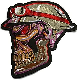 Super Rare 。Super LargeアップリケMilitary Armyスカルヘッド骨パッチバッジ28cm、Look Cool刺繍アイロンSew Craft For Biker Trucker Rocker over 80%刺繍ジャケット