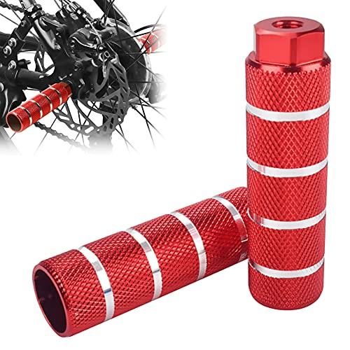 HUYIWEI 8mm Fahrrad Pegs,2 Stück BMX Peg Rot,Universal Bike Peg für Vorderachse Hinterachse,rutschfeste Mountainbike Fußpedal Pegs,Aluminium/mit Faden/BMX Teile/Fahrradzubehör