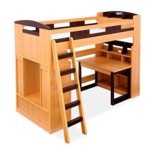 木製 ロフトベッド システムベッド Chambre(シャンブル) デスク・ラック・シェルフ付き (ライトブラウン×ブ...