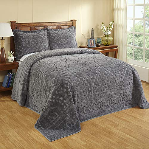 Better Trends Rio Collection in Floral Design 100% Cotton Tufted Chenille, Queen Bedspread, Grey
