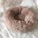 PINKE Pet Nest Donut Form Hund Katze Rundes Bett, Weiche Warme Plüsch Haustierbett Hundebett Waschbar, Runde Plüsch Zwinger Katzenstreu Vier Jahreszeiten(60cm,Brown)