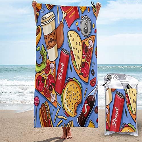 MOBEITI Toalla de baño de Microfibra Ultra Absorbente,Hamburguesa,Hot Dog,Papas Fritas,café,Pizza,patrón,Secado rápido,de Gran tamaño para Surf en la Playa,natación,SPA,Yoga