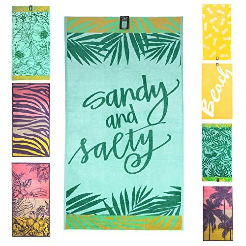 jilda-tex Strandtuch 90x180 cm Badetuch Strandlaken Handtuch 100% Bio-Baumwolle Velours Frottier Pflegeleicht (Sandy & Salty)