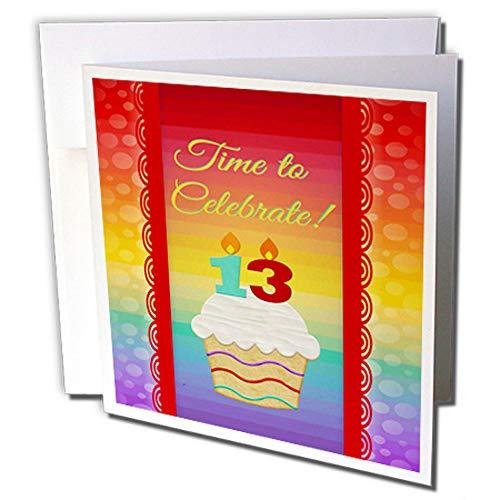3dRose gc_244862_5 wenskaart, motief cupcake-cijfers, kaarsen op het moment van de 13 jaar oude uitnodiging, 15,2 x 15,2 cm