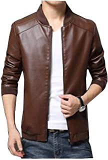 Men Casual Fashion Jacket pu Leather baseball collar Zip Up Jacket Coat - size