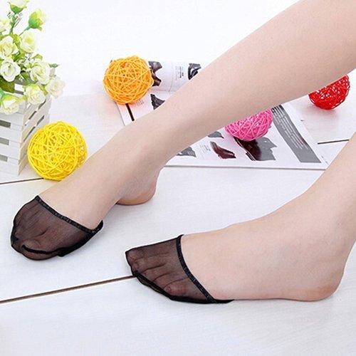 5starwarehouse, lot de 2 paires de chaussettes haut talon rembourrée Footsies, chaussettes pop pour chaussures avec semelles intérieures noir
