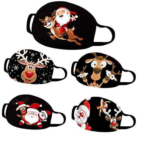Lulupi 5 Stück Mundschutz Multifunktionstuch Weihnachten Waschbar Bandana Maske Weihnachtsmann Elch Motiv Mund und Nasenschutz Schwarz Weihnachtsmaske Weihnachts Mund Tücher Halstuch Herren Damen