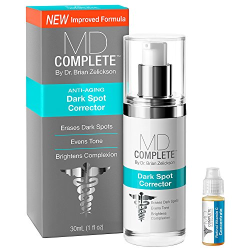 MD Complete Dark Spot Corrector and Melasma Cream for Face, Hands, Body - 2% Hydroquinone Bonus pack with Retinol Vitamin C Serum Brightens Tone and Fades Dark Spots
