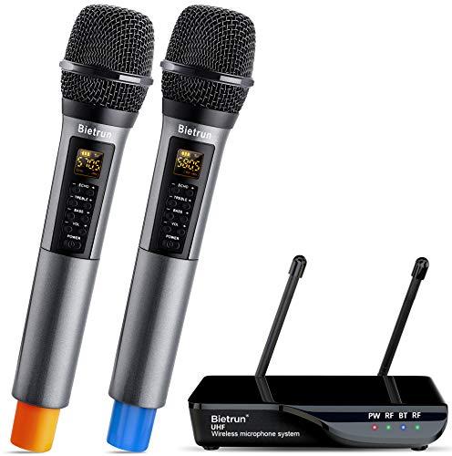 Bietrun UHF drahtlos Mikrofon Dual Handmikrofon 50M Funkmikrofonsystem mit Bass/Echo/Treble Soundeffekte Bluetooth zu Musik abspielen 6,35mm/3,5mm/RCA Mischpult Verstärker Karaoke Gesang Partys
