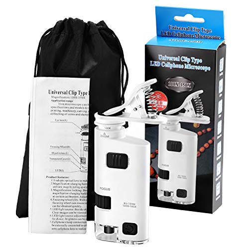 Pocket Microscope 100x-150x LED Lighted Pocket Microscope with Smartphone Digiscoping Clip and Storage Bag