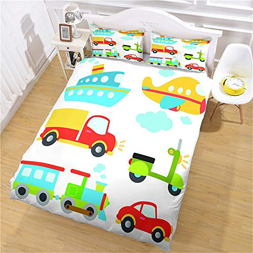 PERFECTPOT King Size Duvet Cover Set Cartoon Truck Animal Bedding Quilt Set with 2 Pillowcases in Polyester with Zipper Closure, 1 Duvet Cover 230x220 with 2 Pillowcases for Children Adults