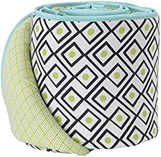 Lolli Living Charcoal Triangle Crib Bumper with Reversible Green Diamond Pattern. Green. 100% Cotton Baby Crib Liner with Polyester Fill (Phinley Collection)