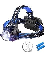 LED Hoofdlamp 1000 Lumen Oplaadbaar - Waterproof – Vislamp – Werklamp – Survival - ABS - 10 cm x 10 cm 10 cm - Zwart/Blauw - 1 Stuk - USB Oplaadbaar - SOS Functie - 3 Lichtstanden - 90 Graden Verstelbare Lamp