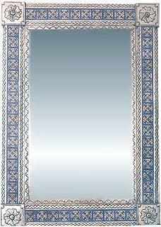 Fine Crafts Imports Big Silver Escudo Talavera Tile Tin Mirror