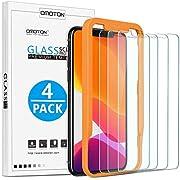 OMOTON Protector Pantalla iPhone 11 Pro / iPhone XS / X Cristal Templado, iPhone 11 Pro Protector de Pantalla, 2.5D Cristal Templado, con Guía Marco, Anti-arañazos, 4 Pack