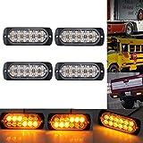 4X12 LED Lampada di Emergenza Strobo 8 Modalità con Controller 4PZ Barra Luminosa Impermeabile Luce Ambra 48W con Interruttore e Accendisigari per 12V 24V Camion Autocarri Trattori Elevatori