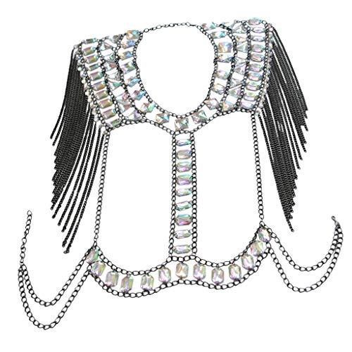 IPOTCH Damen Quaste BH Kette Bikini-Top-Bauchkette, Glitzer-Kristall-Body-BH und Bademode - Schwarz