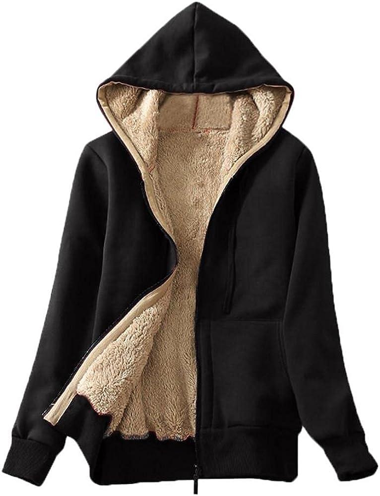 LEIYAN Womens Casual Hooded Jackets Zip Up Long Sleeve Sherpa Lined Fashion Winter Warm Fuzzy Fleece Sweatshirt Plush Coat