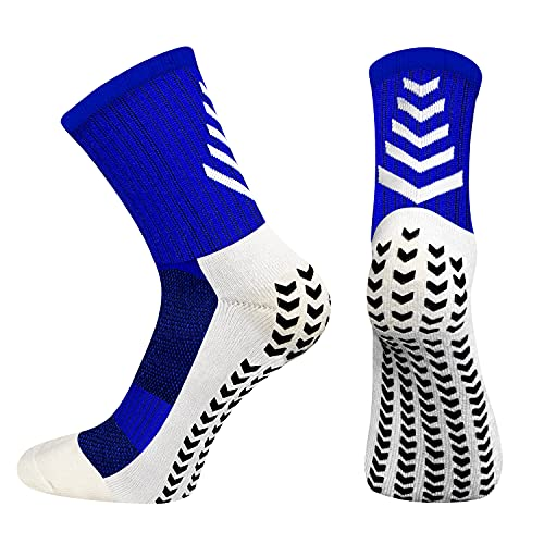 BTNEEU Calcetines Deportivos Antideslizantes Para Hombre, Transpirable Desodorante Calcetines Para Fútbol Baloncesto Running Ciclismo Yoga Trekking (Azul)