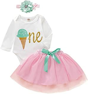 Baby Girls' 1st Birthday Tutu Dress Long Sleeve One Romper Top Lace Skirt Clothes Outfit