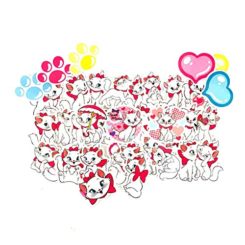 ZFHH 38Pcs Marie Cat Stickers for Guitar Phone Laptop Motorcycle Helmet Car Styling Luggage Fridge Bicycle Waterproof Sticker Decals