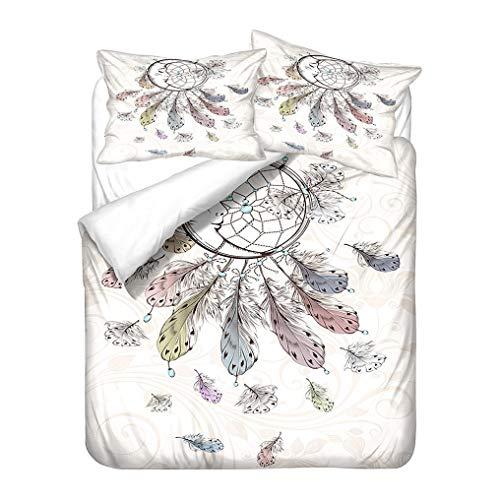 WENYA Funda nórdica Atrapasueños Pluma Mariposa, Ropa de Cama Indio Mandala Flower Pattern Diseño étnico Exótico Funda de edredón y Funda de Almohada (Pluma de Luna, 150x200 cm - Cama 90 cm)