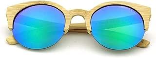 LUKEEXIN Women's Round Half Frame Bamboo Glasses, Fashion Polarized Sunglasses (Color : Green)