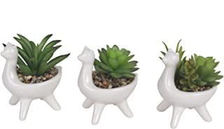 F&D Home Set of 3 Mini Artificial Succulents in Animal Ceramic Pot ,Assorted Faux Artificial Succulents Plants for Office ...