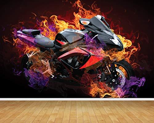 Chicbanners Motorbike Motor Bike Muur op maat Muur Papier Achtergrond BACKDROP Scene Setter GROTE Lijm Verzegeld Vinyl 2m hoog x 2,7m breed MAKES IMPACT