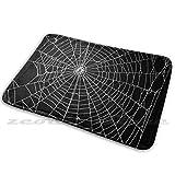 Spider Spider Web Alfombra Antideslizante Suave Alfombra Cojín de Alfombra Patrón Blanco y Negro Goth Gothic Punk Telaraña Telaraña Telaraña Decoración hogareña