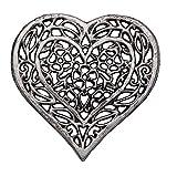 Comfify Untersetzer in Herzform aus Gusseisen -Dekorativer Herztuntersetzer aus Gusseisen für Küche oder Esstisch - Vintage, rustikales Design - 6.75X6.5 - Mit Gummifüßen - Recyceltes Metall