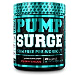 PUMPSURGE Caffeine-Free Pump & Nootropic Pre Workout Supplement, Non Stimulant Preworkout Powder & Nitric Oxide Booster, 20 Servings, Cherry Limeade