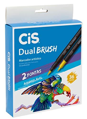 Marcador Artístico Aquarelável 2 Pontas, CiS, Dual Brush 58.0300, 36 Cores