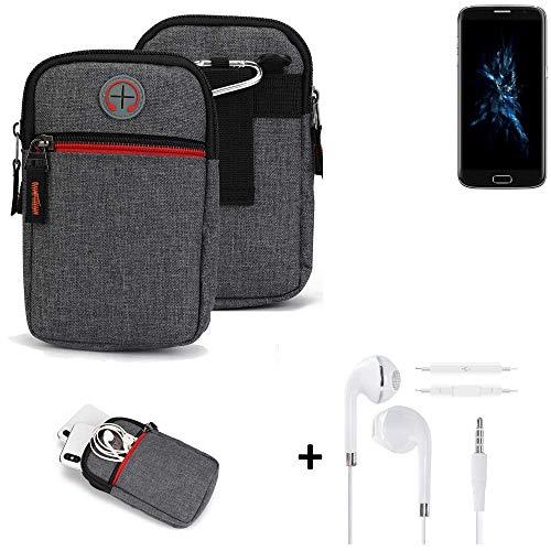K-S-Trade® Gürtel-Tasche + Kopfhörer Für -Bluboo Edge- Handy-Tasche Schutz-hülle Grau Zusatzfächer 1x